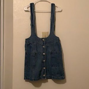 light denim mini overall dress